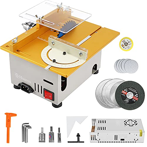 Huanyu Mini Table Saw Multifunctional Liftable Blade 6T with Miter Gauge 300W Power DIY Woodworking Handmade Tool 885 Motor Cutting Polishing Carving Punching Metal Jade Plastic (Fits Group 3, Golden)