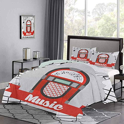 Yoyon Three-Piece Bed Duvet Cover Old Vintage Music Radio Box Cartoon Image with Notes Artwork Print Print Comfy Bedding for Home, Hotel Collection Orange Pale Grey Black