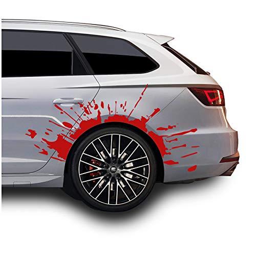 Finest Folia Set Blutspritzer für Radlauf Auto Radkasten Blutige Aufkleber Blut Spritzer Autoaufkleber Blutspuren Folie Horror Fun Sticker KX025 KX066 (Rot, 2er Set Blutspritzer)