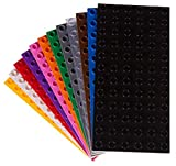 Big Briks - Pack de 12 Bases para Construir - Compatible con Todas Las Grandes Marcas - Tacos Grandes - 19,05 x 9,53 cm - Negro, Blanco, Transparente, Gris, Azul, Verde y más