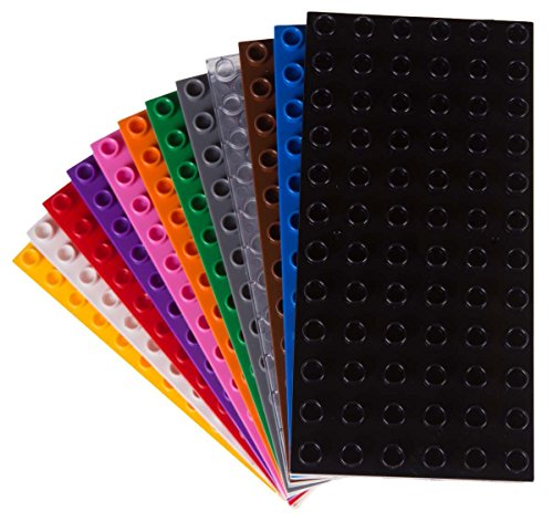 Big Briks - kompatibel mit großen Bausteinen Aller führenden Marken - nur für Steine mit großen Noppen geeignet - 12 Stück - 19,1 x 9,5 cm - Schwarz, Weiß, Transparent, Grau, Blau, Grün und mehr