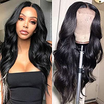 Ucrown Hair 13x6 Lace Front Wigs Brazilian Body Wave Human Hair Wigs For Black Women 150% Density Pre Plucked with Baby Hair Natural Black