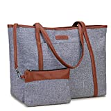 Laptop Tote Bag for Women,15.6 Inch Laptop Lightweight Large Work Bag Carry-on Shoulder Bag with Luggage Strap VONXURY Grey