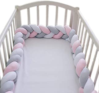 2m Baby Crib Bumper Hand Woven Soft Knot Pillow Baby Bedding Gray Pink