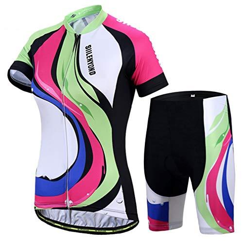 X-Labor – Juego de maillot de ciclismo para mujer, secado rápido, camiseta de manga corta + pantalones de ciclismo con acolchado de asiento, ropa de bicicleta, diseño multicolor, EU L (etiqueta: XL)