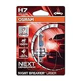 OSRAM NIGHT BREAKER LASER H7, Gen 2, +150% más luz, bombilla H7 para faros delanteros, 64210NL-01B, 12V, blister simple (1 lámpara)