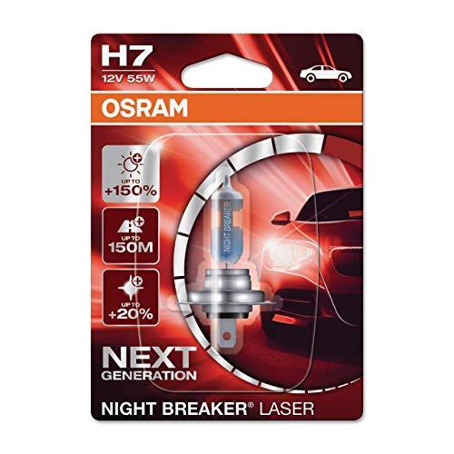 OSRAM NIGHT BREAKER LASER H7, +150% di luce in più, lampada alogena per fari, 64210NL-01B, 12V, blister (1 lampada)