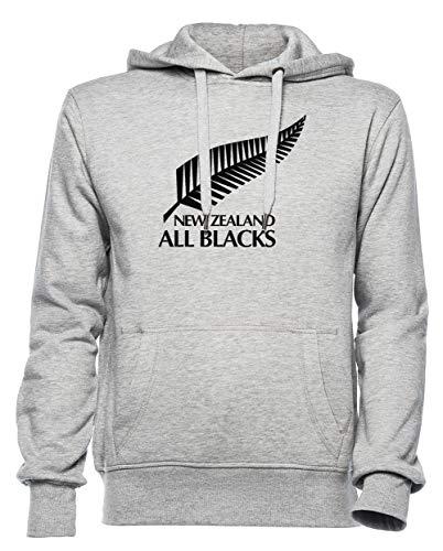 New Zealand All Blacks Hombre Mujer Unisexo Sudadera con Capucha Jersey Gris...