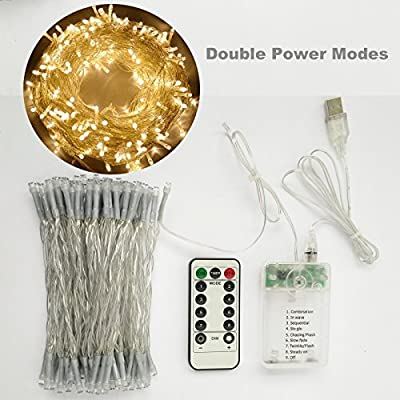 [Double Power Modes] Warm White 33ft LED Battery Fairy Lights String With Remote for Bedroom, Patio, Garden, Gate, Yard, Party, Wedding (8 Modes, Dimmable, Auto Timer, 100 LEDs)
