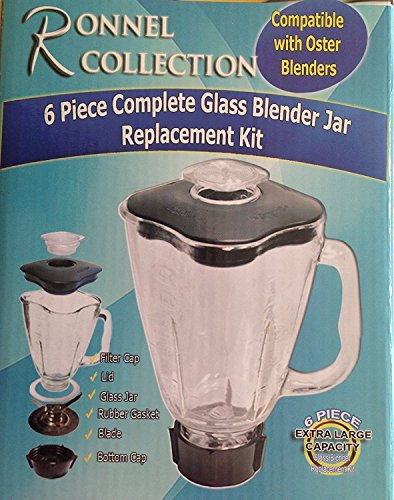 Ronnel Collection 6-Piece Square Blender Glass Jar Replacement Kit for Oster Blender, 1.6 Liter - 6.8 Cup