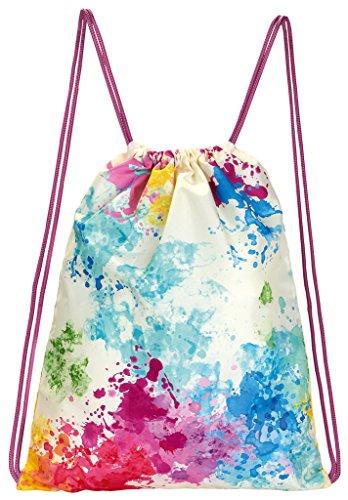 moses. Rucksack Farbkleckse, Faltbarer Backpack, umweltfreundlich, wiederverwendbar Turnbeutel, 42 cm, Mehrfarbig