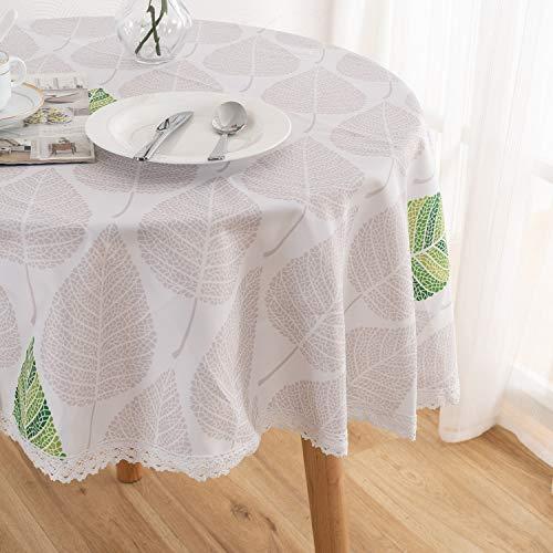 Xlabor - Mantel redondo lavable, con encaje, impermeable, mantel de mesa, fácil de limpiar, para jardín, habitación, decoración de mesa, beige, 180 cm