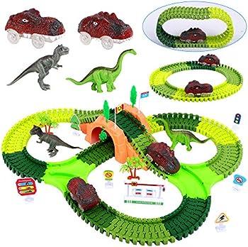 FiGoal Dinosaur Race Track Toy Set with Bonus Electric Dinosaur Car