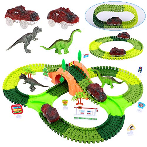 FiGoal Dinosaur Race Track Toy Set 153 Pieces with Bonus Electric Dinosaur Car, Flexible Tracks, 2 Dinosaur Race Cars, Perfect Dinosaur Gift for Boys Girls Children Ages 3 to 12 Easter Party Favors