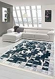 Merinos Alfombra de Piel de Vaca imitación Patchwork en Negro Gris Blanco Größe 80 x 300 cm