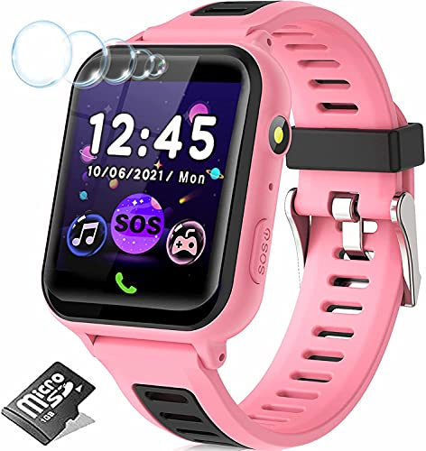 Kids Smart Watches for Girls Boys, Kids Smartwatch with 14 Puzzle Games Call SOS Camera 12/24 hr, HD Touch Screen Children Learning Toys Smart Watch Birthday Gifts for Kids Girls Age 3-14(Pink)