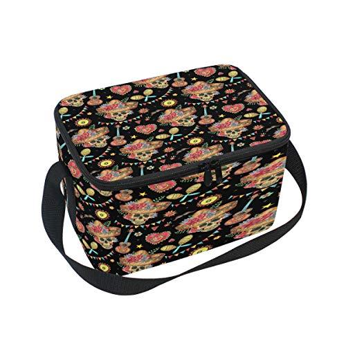 Lunchboxen mit Blumenmotiv und Totenkopf, mexikanische Gitarre, tragbar, wasserdicht, isoliert, Kühltasche mit Reißverschluss, Picknick, Arbeit, Büro