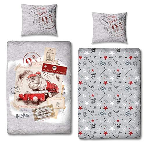 Juego de ropa de cama de invierno 135 x 200 cm, 80 x 80 cm, diseño de Harry Potter Hogwarts Express, franela, suave y con cremallera