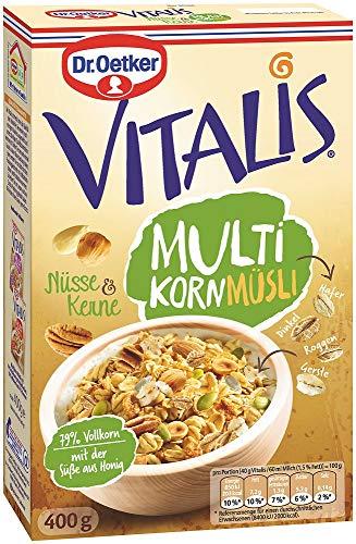 Dr. Oetker Vitalis Multikorn Müsli Nüsse & Kerne, Frühstücksmüsli mit Nüssen und Kernen, 8er Packung, (8 x 400 g)