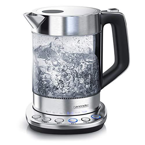 Arendo - Hervidor de Agua de vidrio con control de temperatura - Función de retención de calor - Capacidad 1,5 litros - robusto vidrio borosilicato - estación base de acero inoxidable