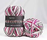QINGTIAN 3 x 50g Hilo de Ganchillo Juego de Hilo de Tejer de Ganchillo madejas Hilo de Hilo Grande Colores Surtidos para Tejido de Ganchillo Paquete Colorido 100% algodón