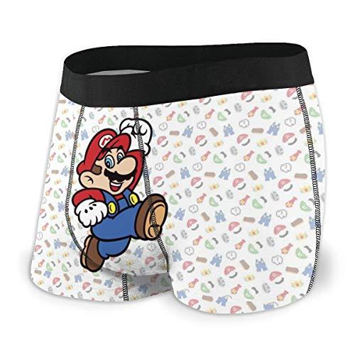 Yellowbiubiubiu Video Games Super Mario Herren Unterwäsche Stretch Boxershorts für Männer Kurze Bein Unterhose Atmungsaktiv Bequeme Faser Pack Gr. L, Schwarz