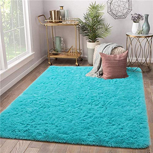 QXXKJDS Alfombra moderna para sala de estar, suave, para habitación de niños, para guardería, niñas, dormitorio, dormitorio, (color: azul, tamaño: 80 cm x 160 cm)