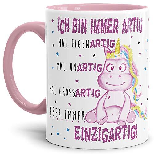 Tassendruck Einhorn-Tasse mit Spruch Immer Einzigartig - Unicorn/Geschenk-Idee/Freunde/Sterne/Innen & Henkel Rosa