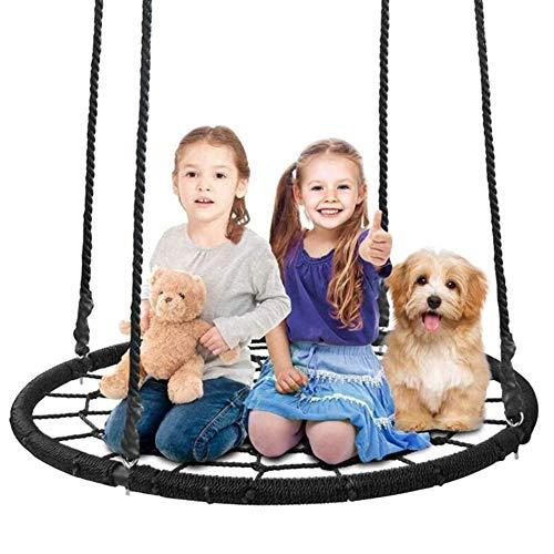 Balançoires YXX Nid D'oiseau Jardin d'arbre à Soucoupe Ronde pour Jardin extérieur et Gymnase intérieur, Chaise hamac réglable pour Enfants et Adultes, Charge 200 kg
