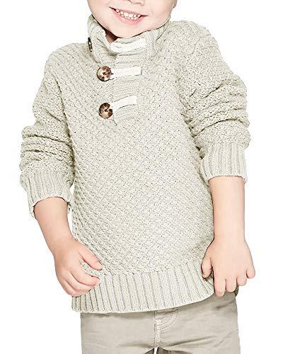 Makkrom Kids Baby Boys Knit Sweater Turtle Neck Long Sleeve Casual Winter Warm Solid Pullover Sweater Beige
