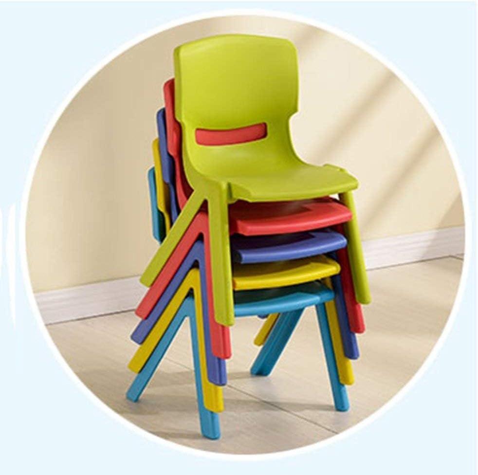 TYJIAJU Tabourets Chaise en plastique avec dossier pour enfants l/Jaune Rouge