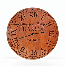Personalized Carved Wood Clock 13, 16, or 20