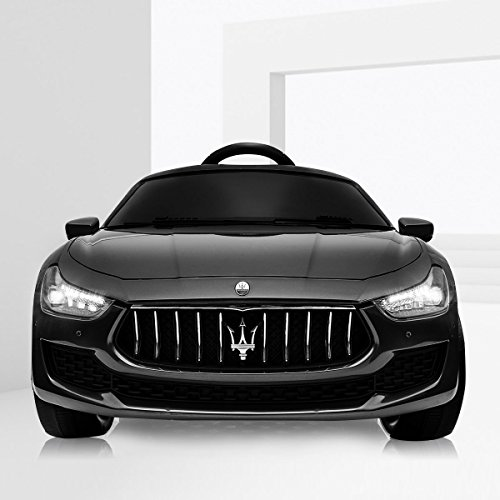 BWM.Co 12V Kids Ride On Car Licensed Maserati Ghbili Rechargeable Battery Powered Toy Vehicle w/MP3, Remote, Spring Suspension - Black