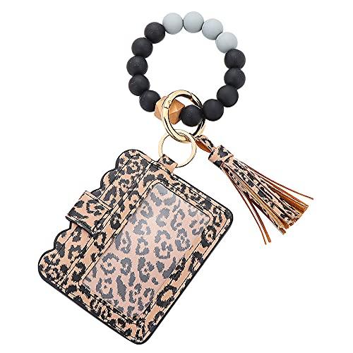 okdeals Pulsera de pulsera para mujer, pulsera con cuentas de silicona, llavero con tarjetero, borla llavero (leopardo)