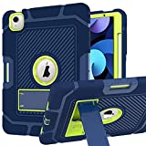 ZHK iPad Air 4 Case, iPad 10.9-inch 2020 Case, Rugged Heavy Duty Shockproof Case High Impact Resistant Hybrid 3 Layer Full-Body Protective Case Built-in Kickstand-Blue Green