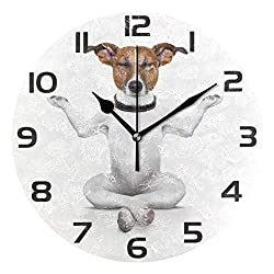 Mr.XZY Yoga Dog Wall Clock for Bathroom Cute Animal Interesting Pattern 9 Inch Round Wall Clock Acrylic Silent Non-Ticking for Living Room Kitchen Bedroom 2010696