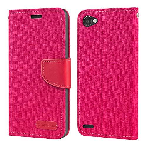 Capa para LG Q6, capa carteira de couro Oxford com capa traseira magnética de TPU macio para LG Q6 Plus
