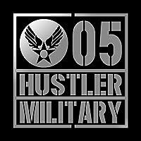 ミリタリー HUSTLER ハスラー カッティング ステッカー シルバー 銀