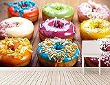 Qingany Fond D'Écran Murale Papiers Papier Peint Personnalisé Baking Donuts Food Papier Peint, Café Salon Canapé TV Mur Chambre Cuisine 3D Papier Peint @ 350 * 245 Cm