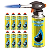 SmashingDealsDirect Blow Torch Butane Flamethrower Weed Burner Welding Gas Auto Ignition Soldering (Torch + 8 Refills)