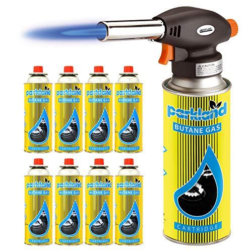 SmashingDealsDirect Blow Torch Butane Flamethrower Weed Burner Welding Gas Auto Ignition Soldering (Torch + 8 Refills)