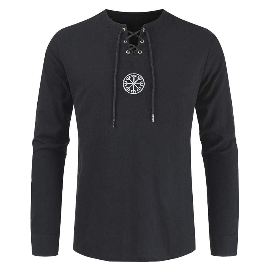 JJLIKER Men's Vintage Long Sleeve Shirt Tops Lace Up Drawsting Cotton Linen T-Shirt V-Neck Casual Blouse