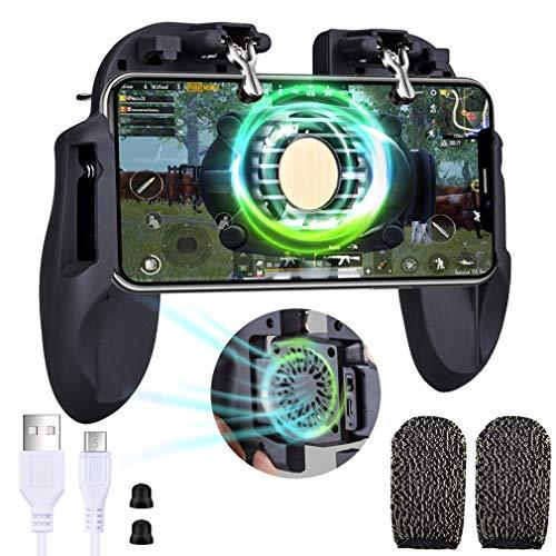 Qoosea PUBG Controladores de juegos móviles Gamepad con ventilador de enfriamiento y botones de joysticks de objetivo sensibles a la batería de 450 mAh integrados Disparadores de juegos