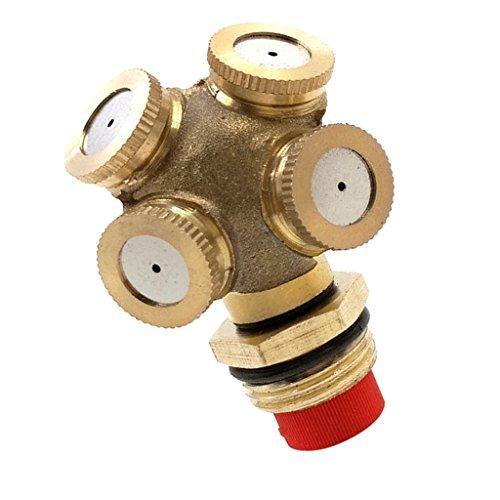 joyMerit 1/2 \'\' 4 Loch Verstellbarer Messing Sprühnebeldüsen Gartenregneranschluss - 0,5 Zoll mit Filter