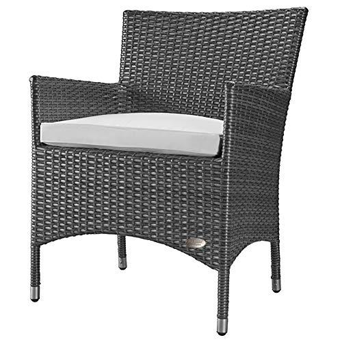 RS Trade 'Trento' Polyrattan Gartenstuhl handgeflochten mit verstärktem Alu-Rahmen, bis zu 200 kg belastbar, Rattan Stuhl mit Alu Füßen und extra Bodenschutzkappen, inkl. 5 cm Sitzkissen, Silber