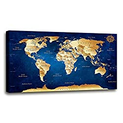 Wall Art blue map of the world Painting Ready to Hang -20 x 40 Pieces Large Framed wall art world Map Canvas Art Map wall decorations Artwork Prints for Background For Home Office Decoration.