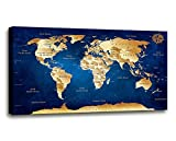 Wall Art blue map of the world Painting Ready to Hang -20' x 40'...