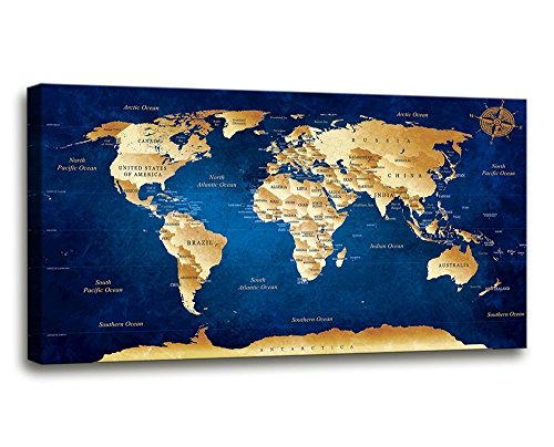 Wall Art blue map of the world Painting Ready to Hang -20' x 40' Pieces Large Framed wall art world Map Canvas Art Map wall decorations Artwork Prints for Background For Home Office Decoration.