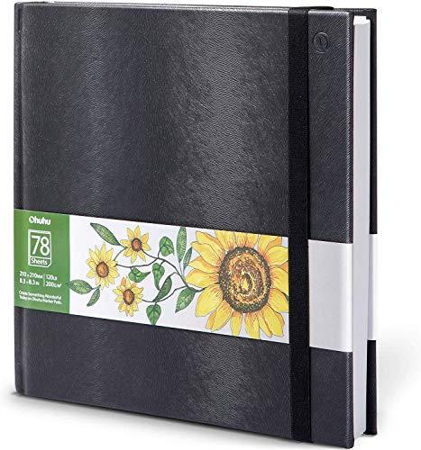 Ohuhu Skizzenbuch Zeichenblock Kunst, 210x210mm, tragbares quadratisches Format, 120 LB/200 GSM Schwere glatte Zeichenpapiere 78 Blatt/156 Seiten, Hardcover-Skizzenbuch, speziell für Alkohol-Markierer