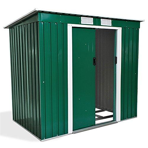 TecTake 800435 Box Casetta Metallo, per Giardino Serra per Attrezzi Capannone Tetto | + Fondazione | Disponibile in Diversi Colori e Modelli (Tipo 2 | Verde | No. 402183)